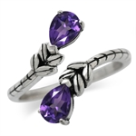 1.24ct. Natural African Amethyst 925 Sterling Silver Bypass Leaf Adjustable Ring