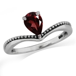 Natural Garnet 925 Sterling Silver Balinese Solitaire Ring