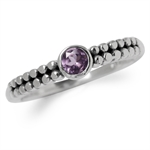 Natural Amethyst 925 Sterling Silver Stack/Stackable Balinese Ring