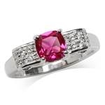 Synthetic Ruby White Gold Plated 9...