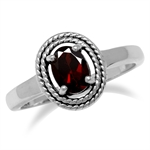 Natural Garnet 925 Sterling Double Rope Balinese Style Solitaire Ring