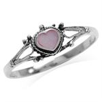 Petite Heart Shape Pink Mother Of Pearl 925 Sterling Silver w/Antique Finishing Rope Casual Ring