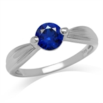 Synthetic Sapphire Blue White Gold...