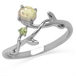 Genuine Opal & Peridot White Gold ...