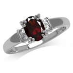 1.36ct. Natural Garnet & White Topaz Gold Plated 925 Sterling Silver Engagement Ring
