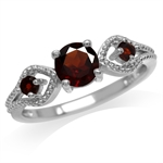 1.14ct. Natural Garnet White Gold Plated 925 Sterling Silver Engagement Ring