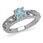 1ct. Genuine Blue Topaz White Gold Plated 925 Sterling Silver Filigree Engagement Ring