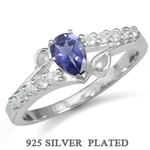 Natural Iolite & White Topaz 925 Sterling Silver Plated Ring