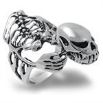38MM 925 Silver Plated BONES & SKULL Ring