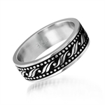 7MM Unisex Two-Tone Stainless Steel Patterned Band Ring