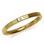 Women CZ Gold Tone 316L Stainless Steel Hammered Stack/Stackable Band Ring