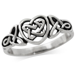 925 Sterling Silver Triquetra CELTIC KNOT HEART Ring