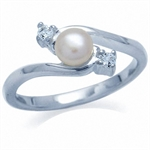 Cultured White Pearl & White Topaz 925 Sterling Silver Ring