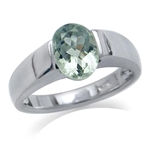 1.8ct Natural Green Amethyst 925 Sterling Silver Solitaire Ring