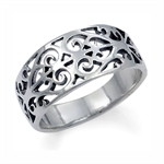 925 Sterling Silver VICTORIAN FILIGREE Band Ring