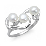 5MM Cultured White Pearl 925 Sterling Silver Swirl Ring