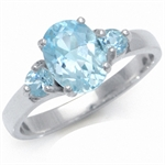 1.94ct. 3-Stone Genuine Blue Topaz 925 Sterling Silver Engagement Ring
