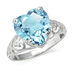 7.82ct. Natural Heart Shape Blue Topaz 925 Sterling Silver Filigree Solitaire Ring