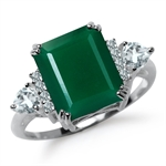 5.03ct. Natural Emerald Green Agate & White Topaz 925 Sterling Silver Cocktail Ring