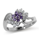 Amethyst Purple & White CZ Gold Pl...