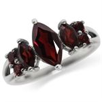 2.14ct. Natural Garnet 925 Sterling Silver Classic Ring