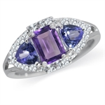 Natural Amethyst, Tanzanite & Topaz White Gold Plated 925 Sterling Silver Cocktail Ring