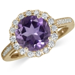 2.3ct. Natural Amethyst & White Topaz 14K Gold Plated 925 Sterling Silver Cocktail Ring