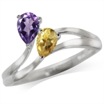 Natural Amethyst & Citrine 925 Sterling Silver Ring