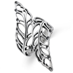 925 Sterling Silver Filigree Bypass Leaf Wide Bypass Ring