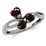1.11ct. 3-Stone Natural Heart Shape Garnet 925 Sterling Silver Ring