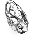 34MM 925 Sterling Silver Filigree Swirl & Spiral Ring