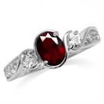Ruby Red CZ White Gold Plated 925 ...