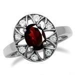 Natural Garnet & Topaz 925 Sterling Silver Sun Ray Inspired Filigree Ring