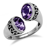 3.38ct. Natural Amethyst 925 Sterling Silver Bypass Filigree Ring