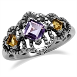 Natural Amethyst & Citrine 925 Sterling Silver Antique Finish Scroll/Filigree Ring
