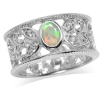 Genuine Opal & White Topaz Gold Plated 925 Sterling Silver Filigree Band Ring