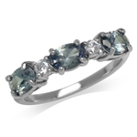 Simulated Color Change Alexandrite White Gold Plated 925 Sterling Silver Ring