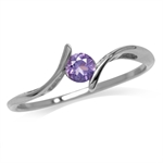 Petite Natural Amethyst 925 Sterling Silver White Gold Plated Promise Ring