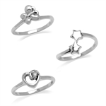 Set of 3 Petite 925 Sterling Silver Heart, Butterfly & Twin Star Casual Knuckle/Midi Ring