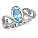 Genuine Swiss Blue Topaz White Gold Plated 925 Sterling Silver Swirl & Spiral Solitaire Ring