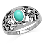 Created Oval Shape Green Turquoise...
