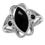 14x7MM Genuine Marquise Shape Black Onyx & Spinel 925 Sterling Silver Victorian Swirl Style Ring