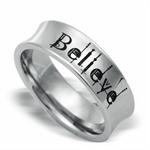 Stainless Steel BELIEVE Concaved Band Ring