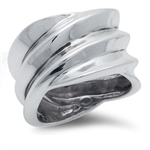 925 Silver Plated Modern Ripple Ring