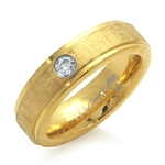 CZ Double Textured Gold Tone PVD Stainless Steel Engagement Ring by Inori