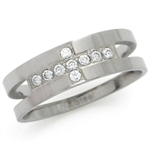 8MM Men&#39s CZ Stainless Steel Cross Wide Band Ring