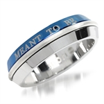 7MM Mens Two-Tone Blue PVD Stainless Steel MEANT TO BE Ring by Inori