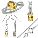3.36ct. Natural Citrine 925 Sterling Silver Ring, Earrings & Pendant/Necklace Set