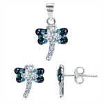 3-Piece Multi Colored Crystal 925 Sterling Silver Dragonfly Earri...
