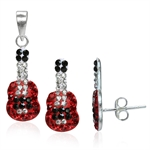 3-Piece Light Siam, Jet Black & White Crystal 925 Sterling Silver...